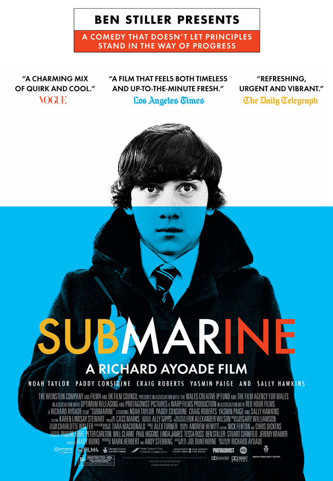 The movie poster for Submarine from Ben Stiller with Sally Hawkins