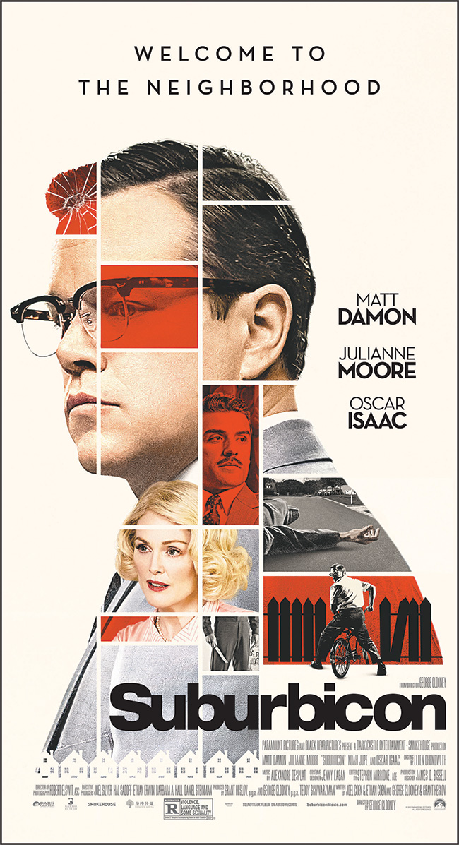 The movie poster for Suburbicon starring Matt Damon and Julianne Moore