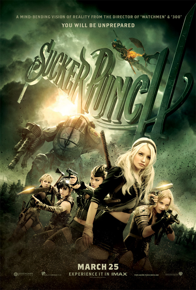 The movie poster for Sucker Punch from director Zack Snyder with Emily Browning and Vanessa Hudgens