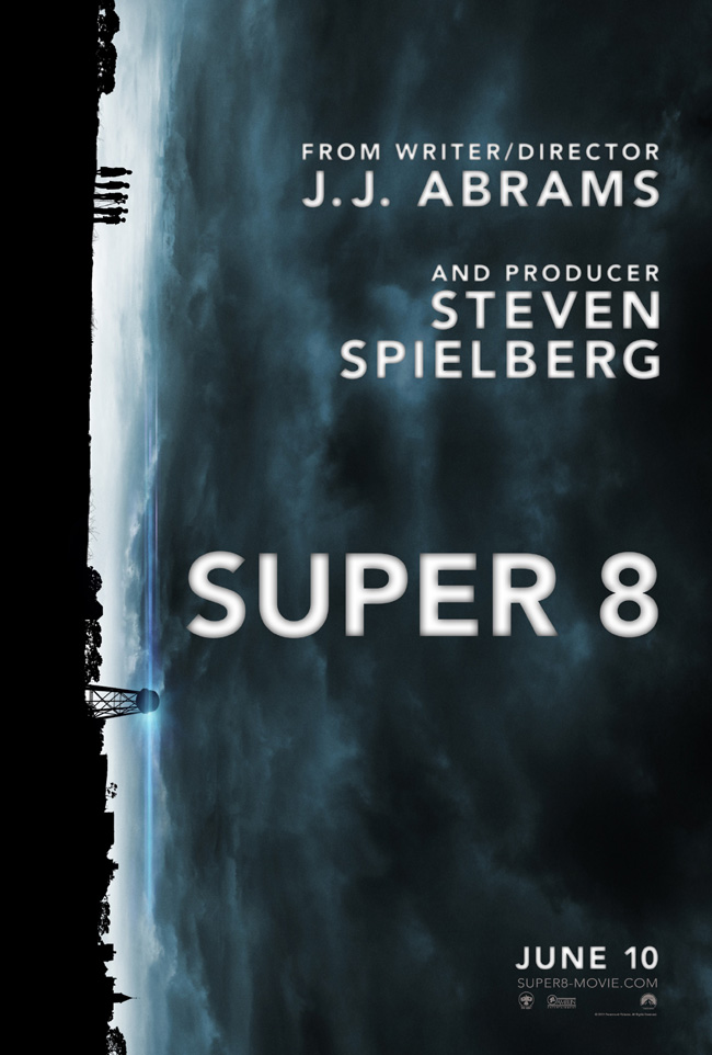 The movie poster for Super 8 from writer/director J.J. Abrams and producer Steven Spielberg
