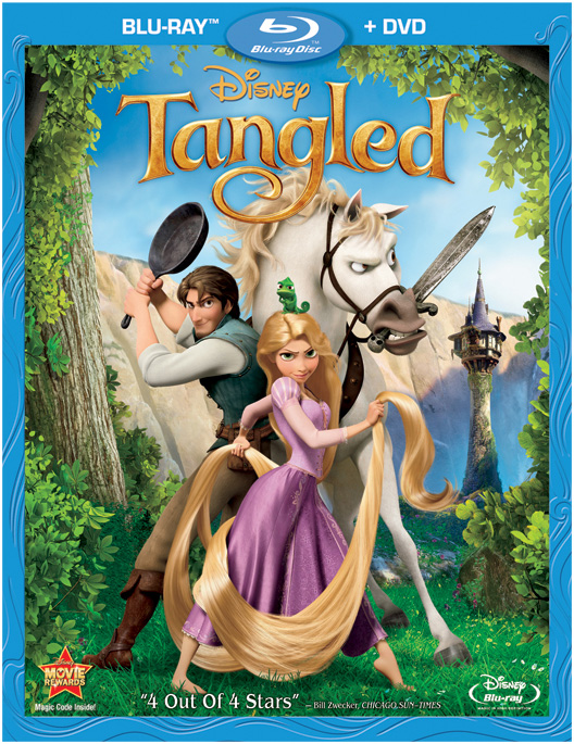 The Blu-ray and DVD combo pack for Tangled with Mandy Moore