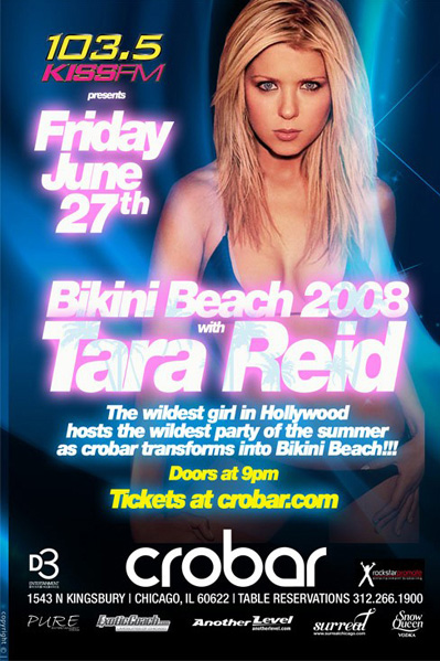 Tara Reid appeared in Chicago on June 27, 2008 at Crobar Nightclub for 103.5 KISS FM's Bikini Beach 2008 party