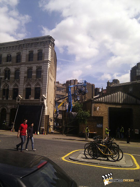This is a cell phone photo of the Farmiloe Building at St. John Street in London where The Dark Knight Rises will soon be filming