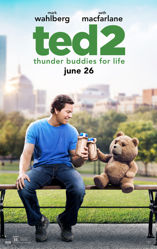 The movie poster for Ted 2 starring Mark Wahlberg, Seth MacFarlane and Amanda Seyfried