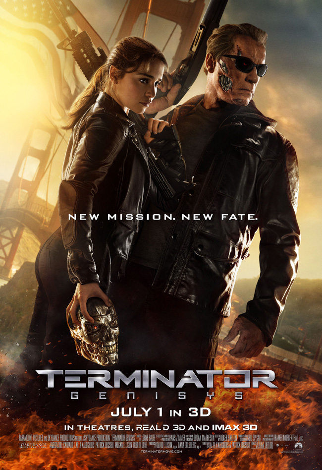 The movie poster for Terminator Genisys starring Arnold Schwarzenegger, Emilia Clarke and Jai Courtney