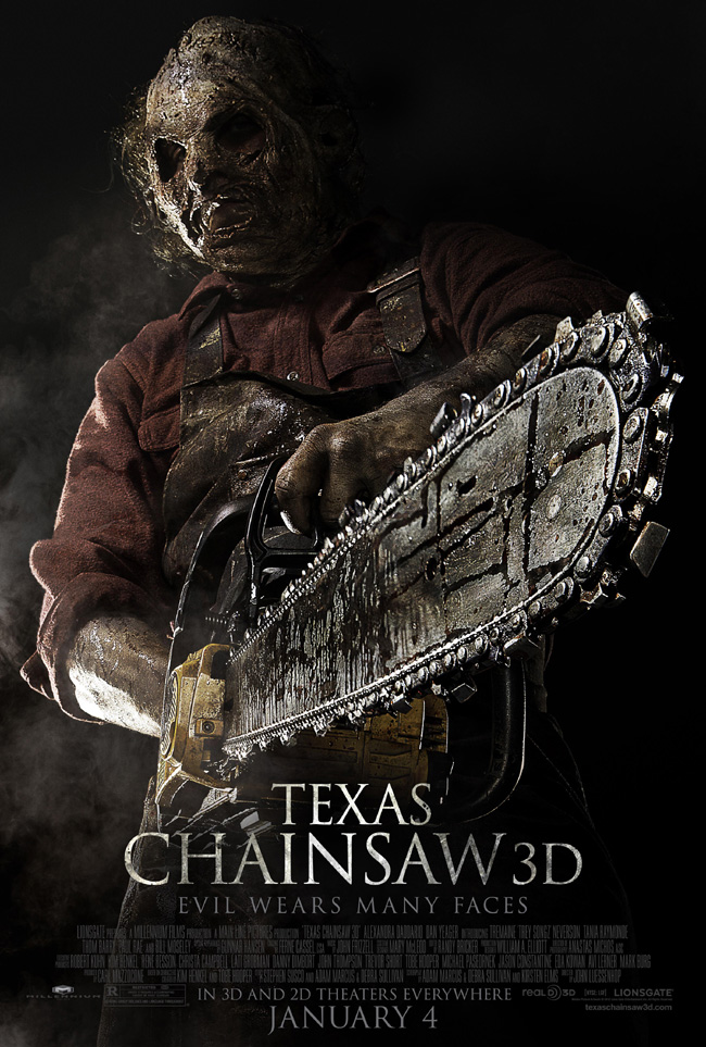 The movie poster for Texas Chainsaw 3D with Trey Songz and Alexandra Daddario