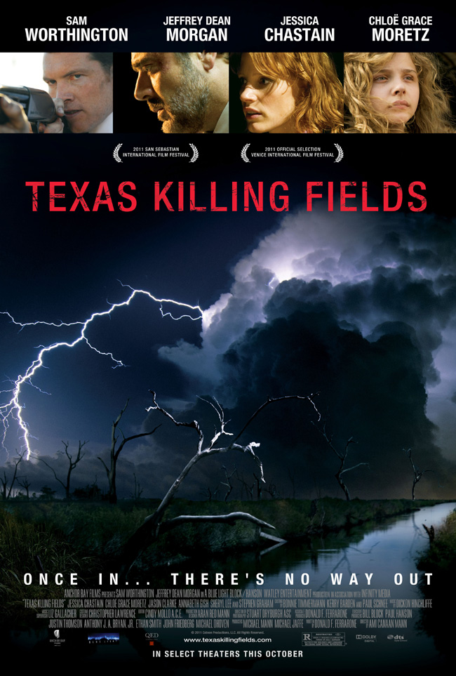 The movie poster for Texas Killing Fields with Sam Worthington, Jeffrey Dean Morgan and Chloe Grace Moretz
