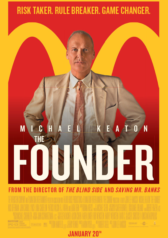 The movie poster for The Founder with Michael Keaton