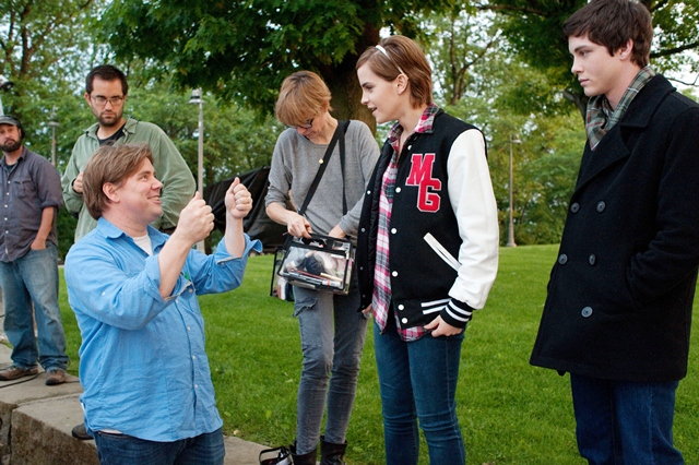 Stephen Chbosky on the set of The Perks of Being a Wallflower
