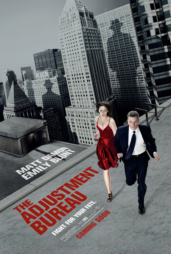 The movie poster for The Adjustment Bureau with Matt Damon and Emily Blunt