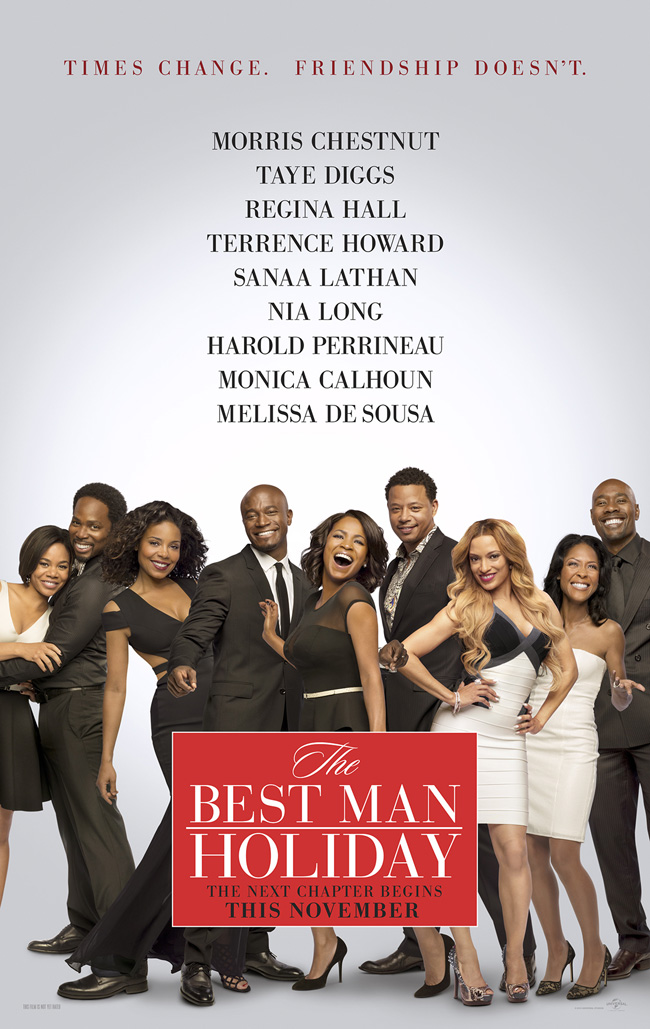 The movie poster for The Best Man Holiday starring Taye Diggs, Morris Chestnut and Regina Hall