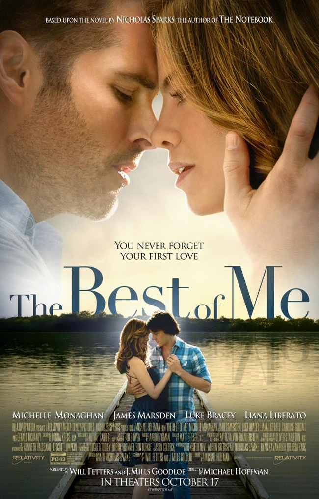 The movie poster for The Best of Me starring James Marsden and Michelle Monaghan