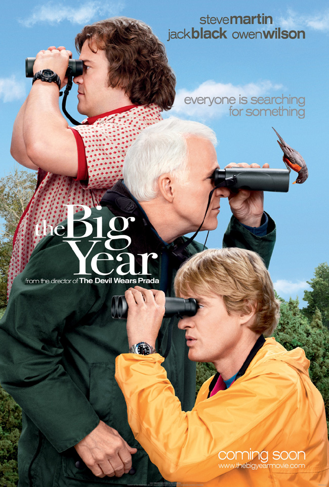 The movie poster for The Big Year starring Jack Black, Steve Martin and Owen Wilson