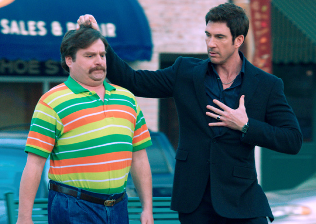 Zach Galifianakis (left) and Dylan McDermott in The Campaign