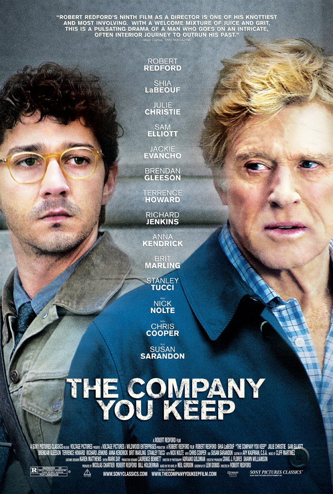 The movie poster for The Company You Keep starring Robert Redford and Shia LaBeouf
