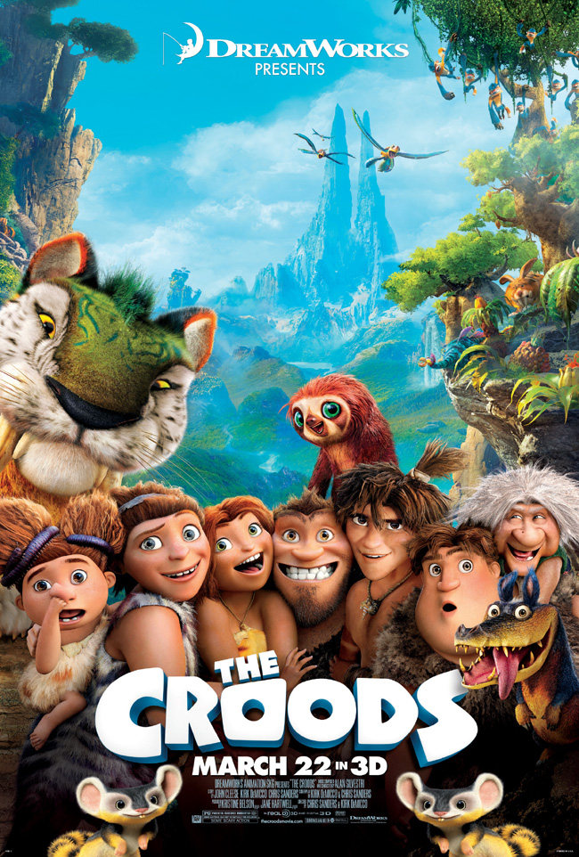 The movie poster for The Croods starring Nicolas Cage, Emma Stone and Ryan Reynolds