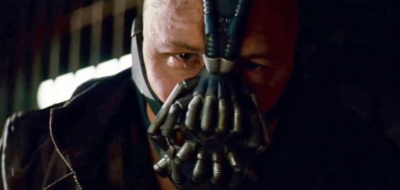 Tom Hardy as the villain Bane in The Dark Knight Rises