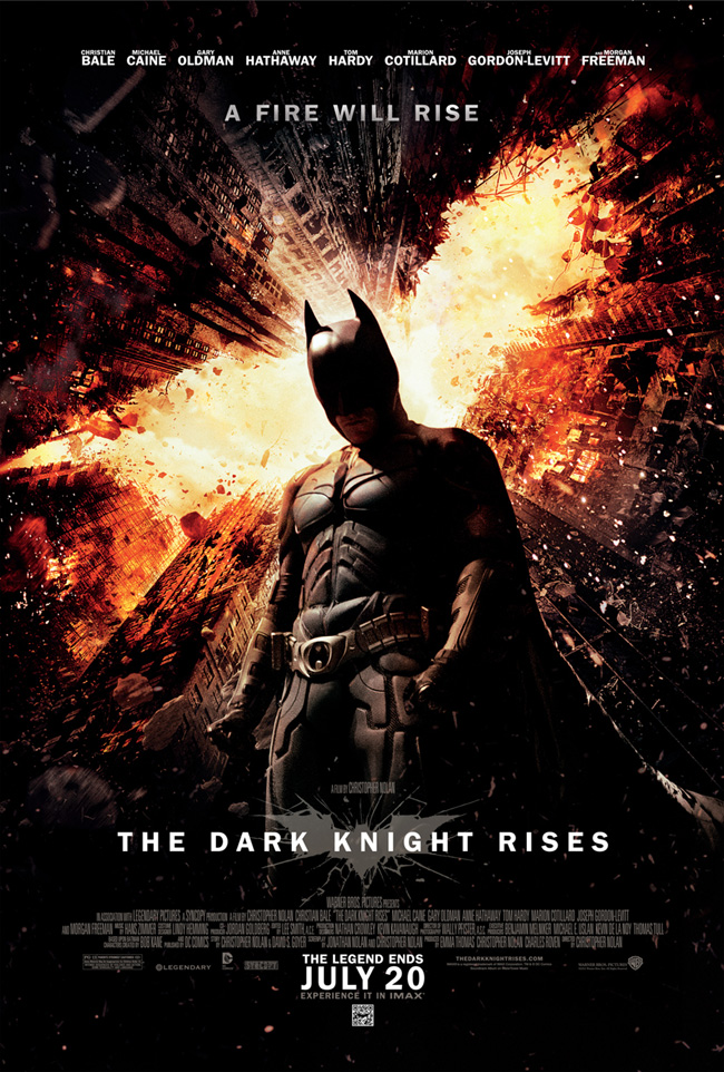 The Dark Knight Rises movie poster from Christopher Nolan starring Christian Bale