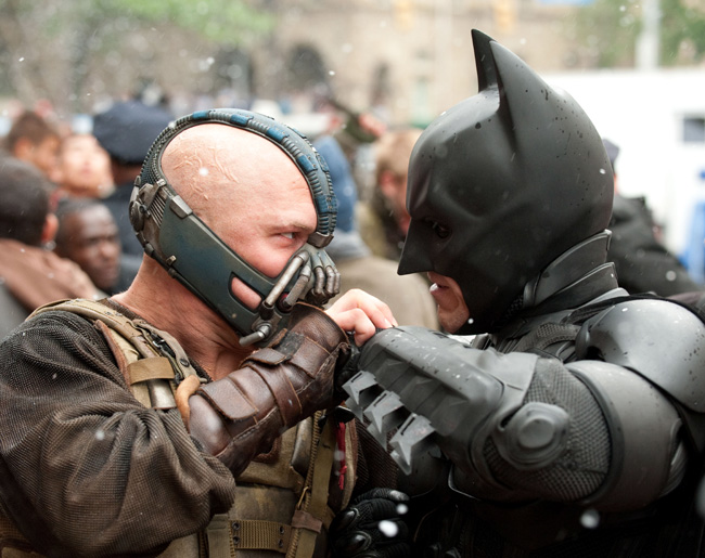 Tom Hardy as Bane (left) and Christian Bale as Bruce Wayne/Batman in The Dark Knight Rises
