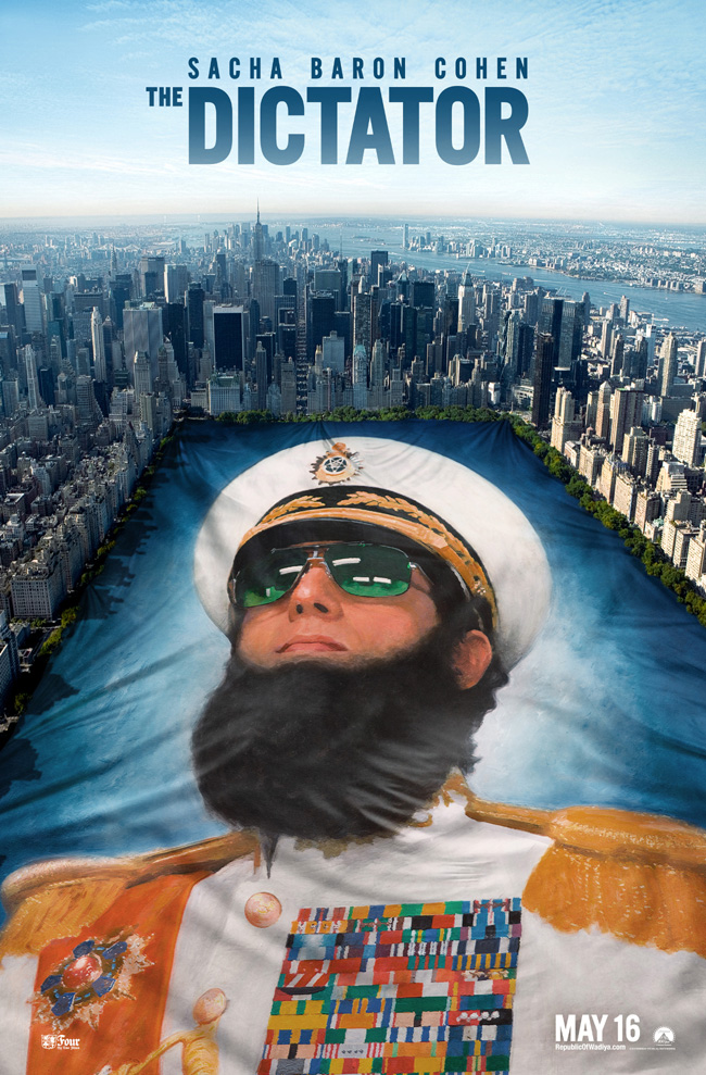 The movie poster for The Dictator with Sacha Baron Cohen and Megan Fox