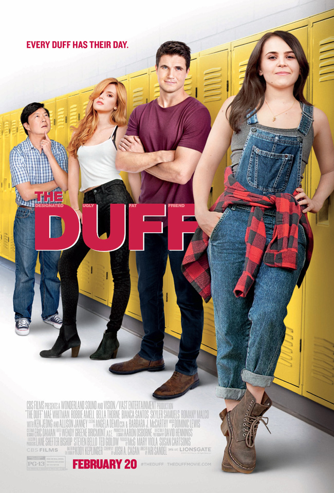 The movie poster for The DUFF starring Mae Whitman, Bella Thorne and Ken Jeong