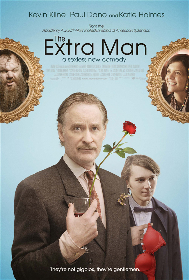 The movie poster for The Extra Man with Kevin Kline, Paul Dano, Katie Holmes and John C. Reilly