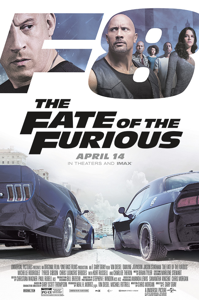The movie poster for The Fate of the Furious starring Vin Diesel