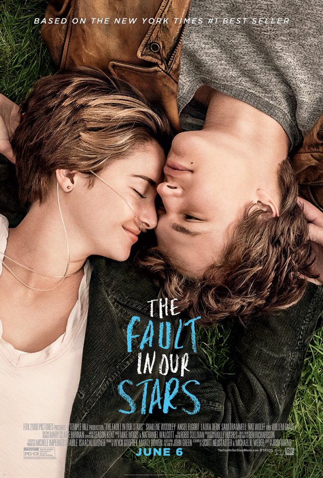 The movie poster for The Fault in Our Stars starring Shailene Woodley and Ansel Elgort