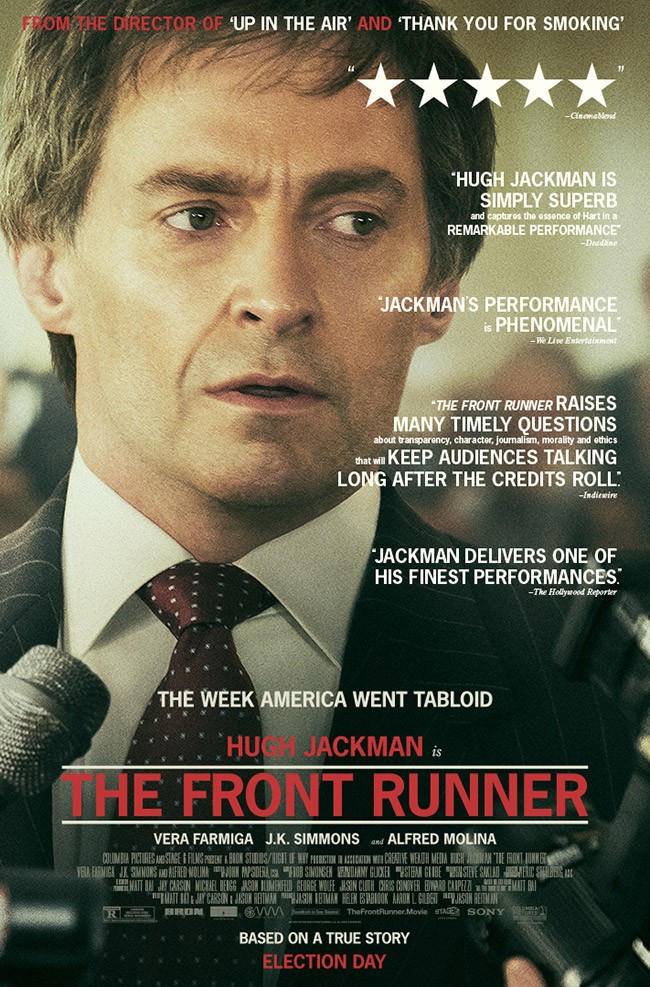 The movie poster for The Front Runner starring Hugh Jackman