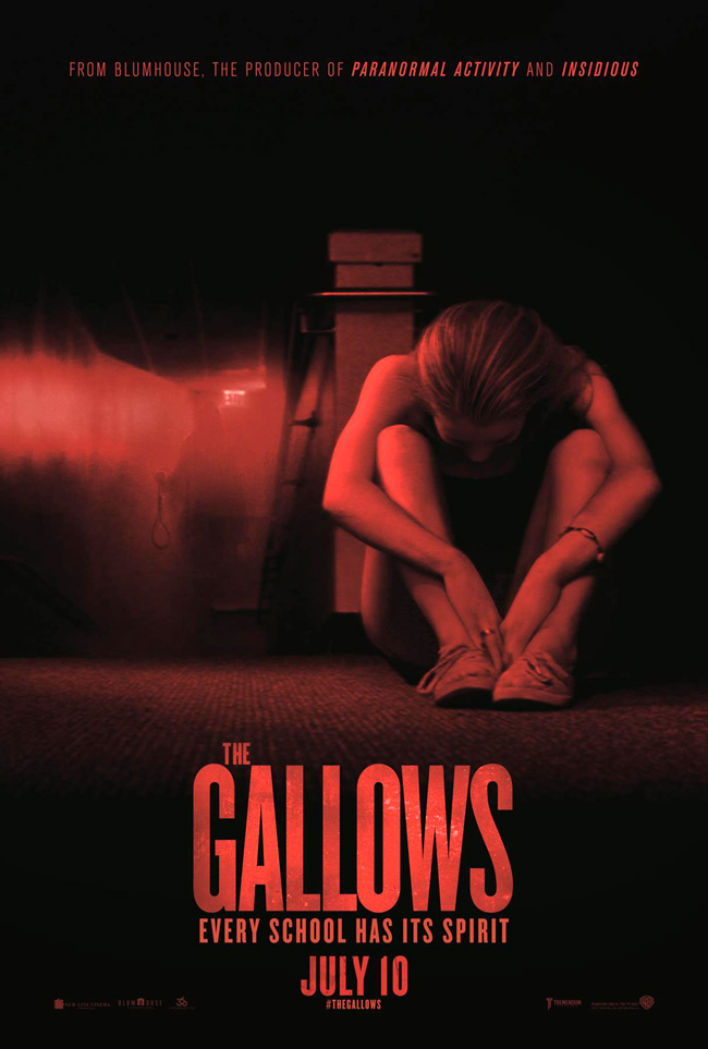 The movie poster for The Gallows from writers and directors Travis Cluff and Chris Lofing and horror producer Jason Blum