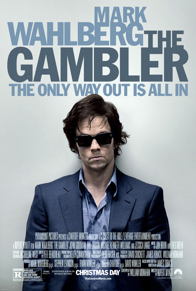 The movie poster for The Gambler starring Mark Wahlberg