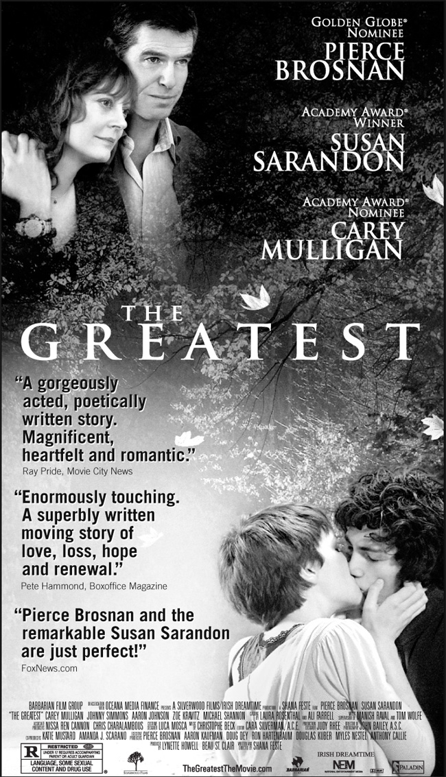 The movie poster for The Greatest with Pierce Brosnan and Susan Sarandon