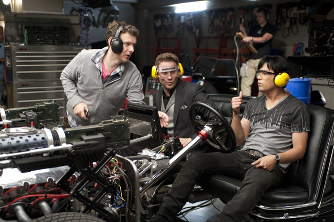 Left to right: Director Michel Gondry, Seth Rogen and Jay Chou in The Green Hornet