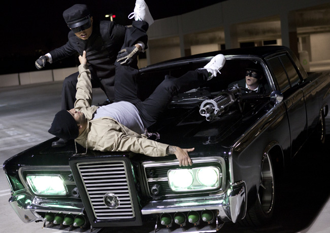 Jay Chou (left) and Seth Rogen (right) in The Green Hornet