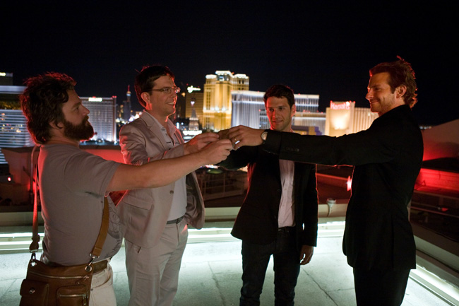 Left to right: Alan (Zach Galifianakis), Stu (Ed Helms), Doug (Justin Bartha) and Phil (Bradley Cooper) in The Hangover