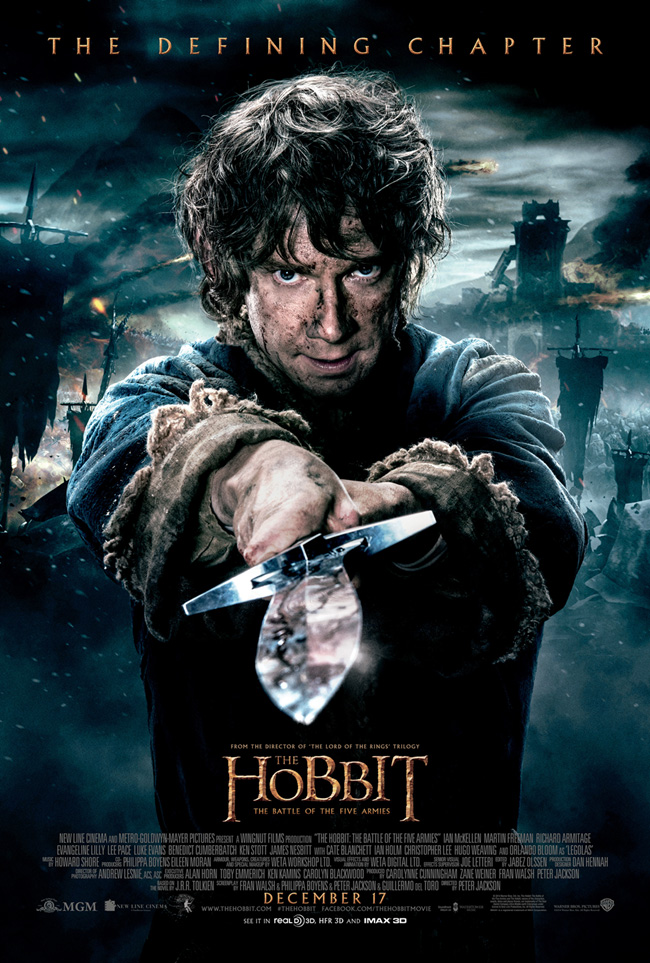 The movie poster for The Hobbit: The Battle of the Five Armies starring Martin Freeman and Ian McKellen