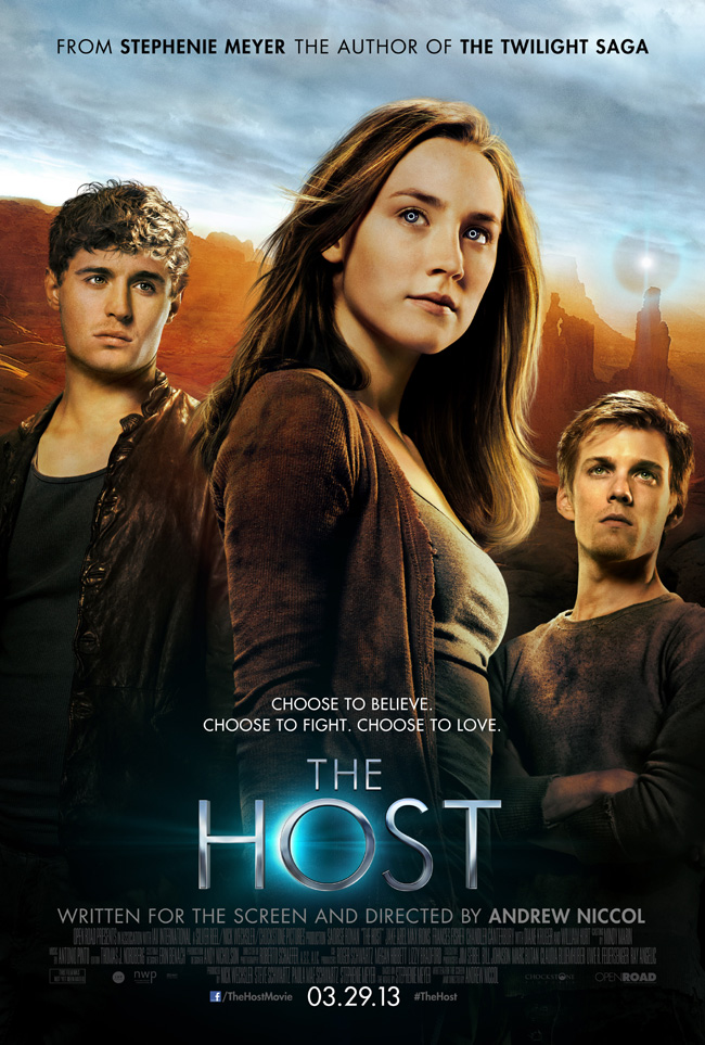 The movie poster for The Host starring Saoirse Ronan, Diane Kruger and William Hurt