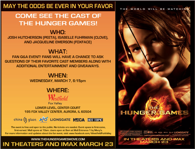 The Hunger Games celebrity event in Aurora, Ill. on March 7, 2012