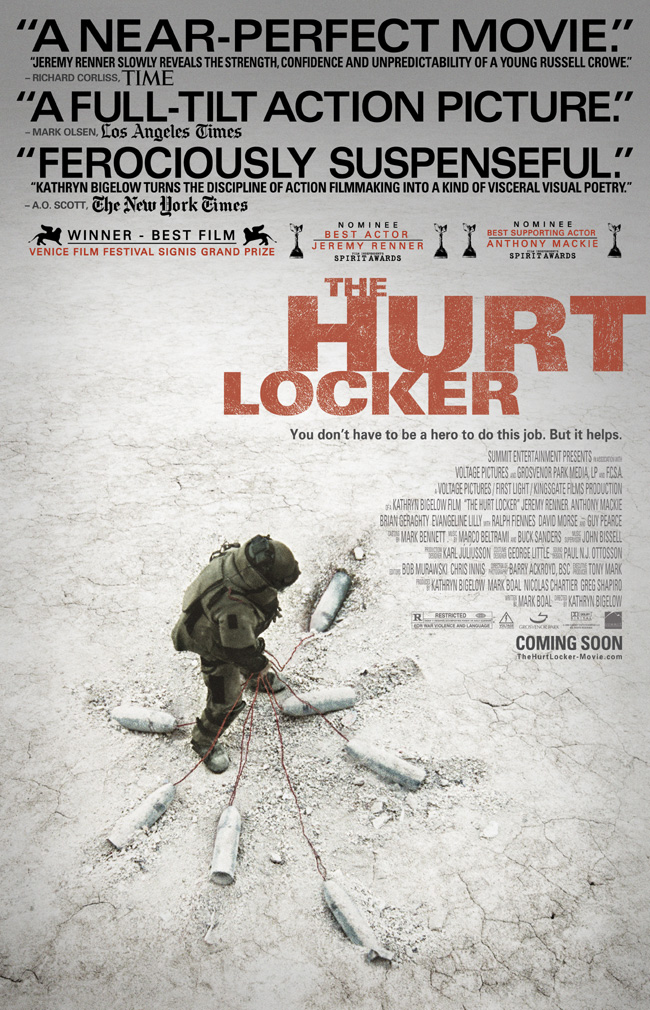 The movie poster for The Hurt Locker with Ralph Fiennes, Guy Pearce and Jeremy Renner