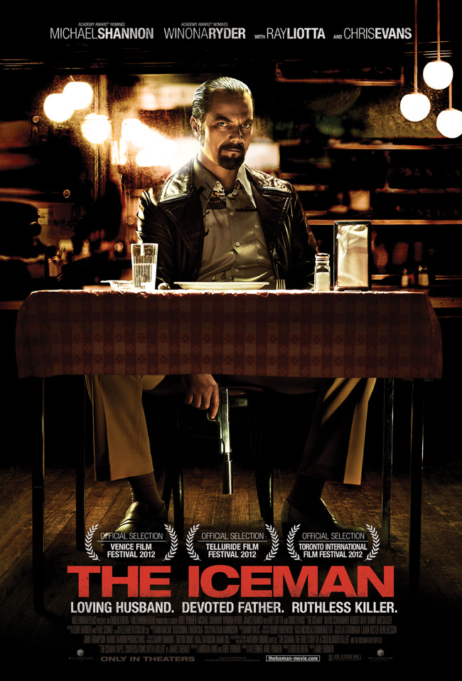 The movie poster for The Iceman starring Michael Shannon and Winona Ryder
