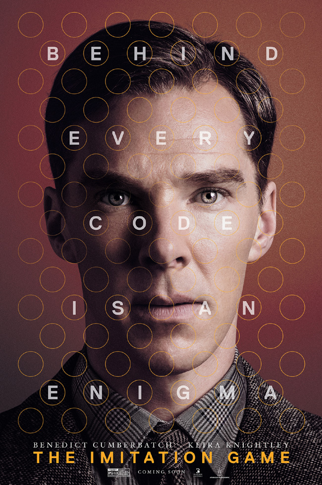 The movie poster for The Imitation Game starring Benedict Cumberbatch and Keira Knightley