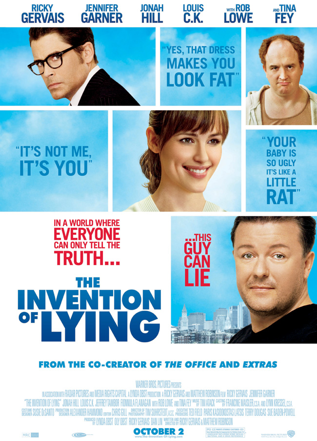 The Invention of Lying movie poster with Jennifer Garner and Ricky Gervais