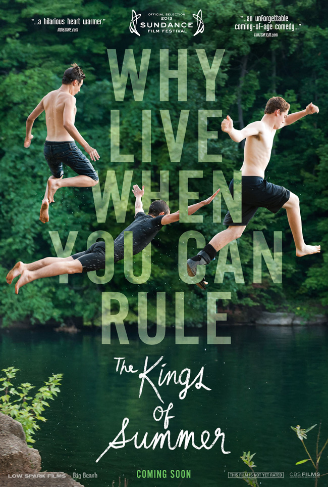 The movie poster for The Kings of Summer starring Nick Robinson, Gabriel Basso and Moises Arias
