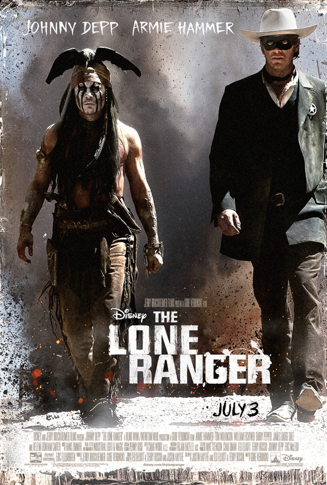 The movie poster for The Lone Ranger starring Johnny Depp and Armie Hammer
