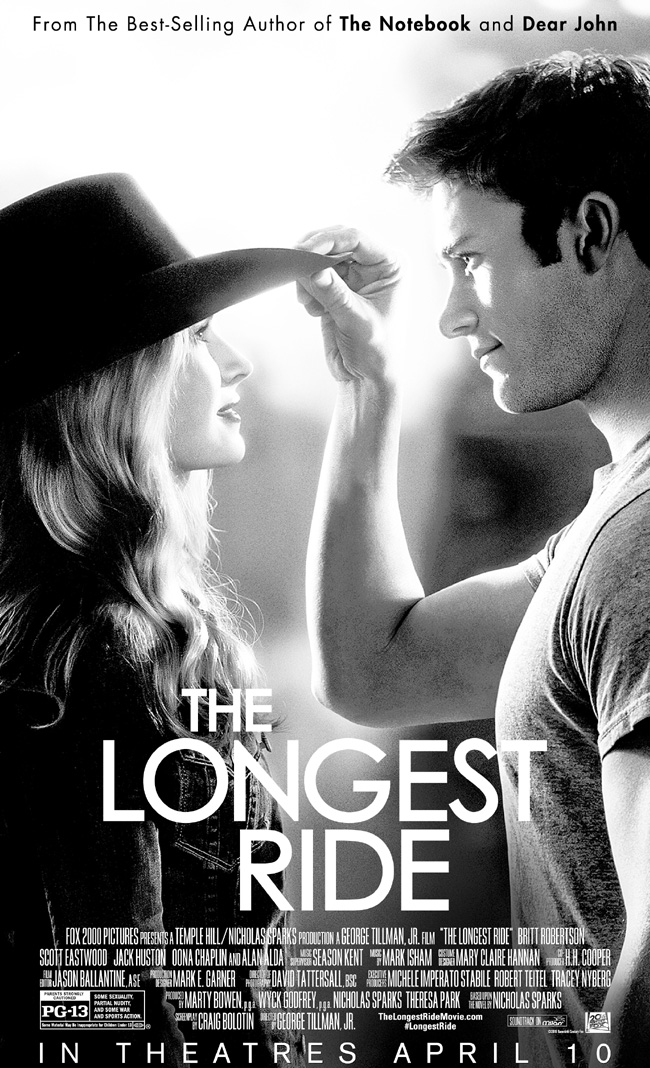 The movie poster for The Longest Ride starring Scott Eastwood, Britt Robertson, Alan Alda and Oona Chaplin