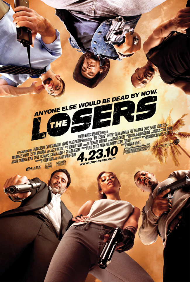 The movie poster for The Losers with Jeffrey Dean Morgan, Zoe Saldana and Chris Evans