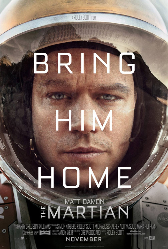 The movie poster for The Martian starring Matt Damon and Jessica Chastain
