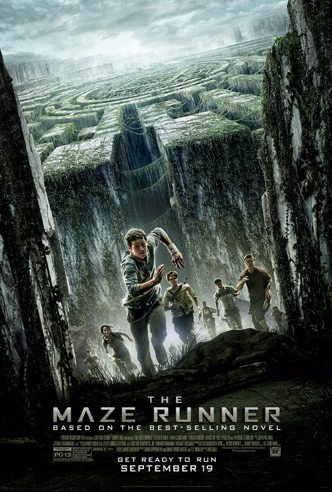 The movie poster for The Maze Runner starring Dylan O'Brien