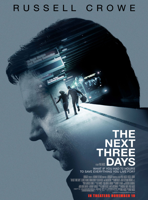 The movie poster for The Next Three Days with Russell Crowe and Elizabeth Banks