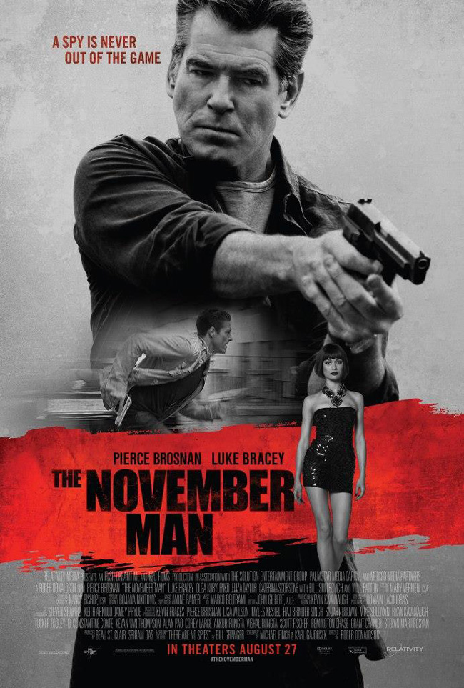 The movie poster for The November Man starring Pierce Brosnan